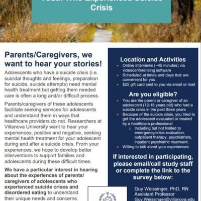 Research on Parent/Caregiver Experiences around youth suicide crisis by Villanova University