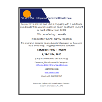 New Hope Integrated Health Care Introductory CRAFT Family Program
